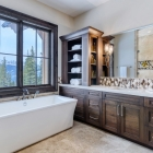 Luxury mountain home soaker tub master bathroom