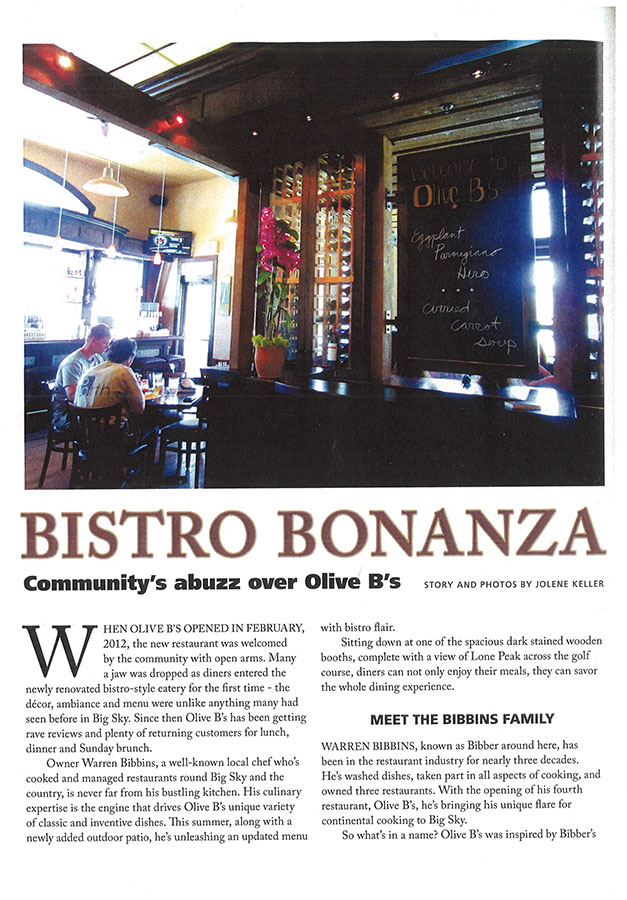 Olive B's in Big Sky Magazine - Summer 2012 - Page 1