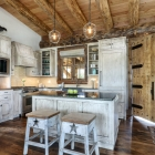 Custom fishing cabin farmhouse kitchen