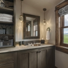 Custom fishing cabin bathroom vanity