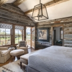Custom fishing cabin master bedroom