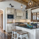 Custom fishing cabin kitchen island