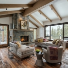 Custom home remodel interior great room fireplace