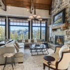 high camp house luxury mountain house great room fireplace