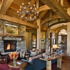 mountain magic custom log home timber frame great room