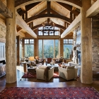 mountain magic luxury home timber frame great room