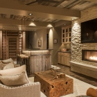 Madison View mountain contemporary wine cellar wet bar