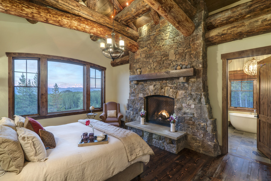 Rustic dream home build your custom mountain house for Master bedroom corner fireplace
