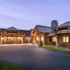 luxury mountain home main entrance driveway