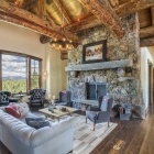 luxury mountain home great room fireplace