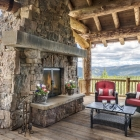 luxury mountain home exterior deck fireplace