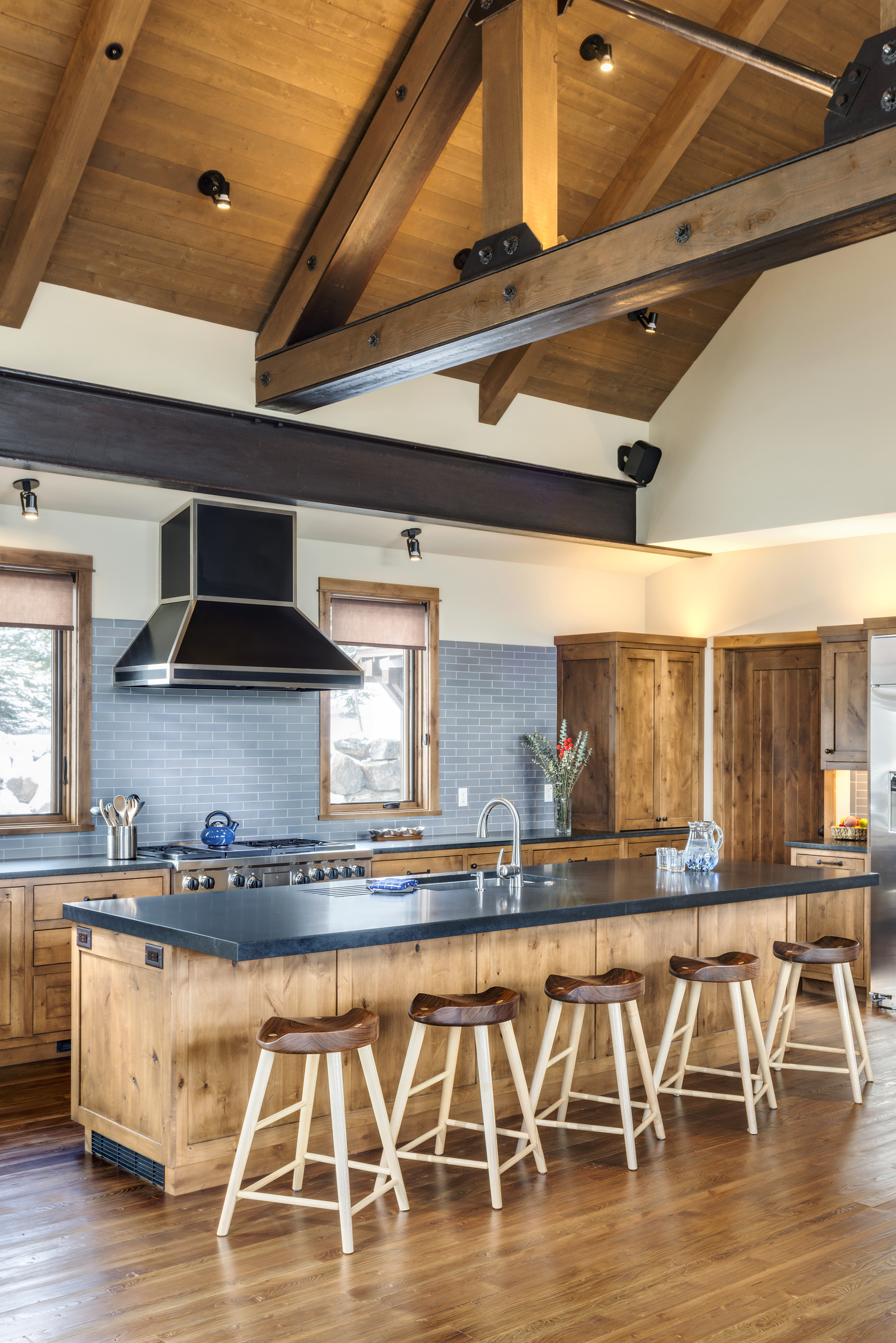 Timber frame mountain home with amazing ski storage and for Timber frame kitchen