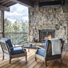 Gambler timber frame deck with fireplace