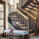 Gambler timber frame entryway stairs