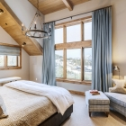 Gambler timber frame master bedroom mountain view
