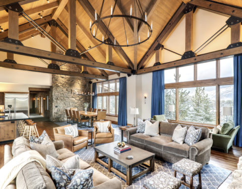 timber frame open concept living room