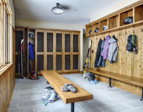 timber frame house ski mudroom